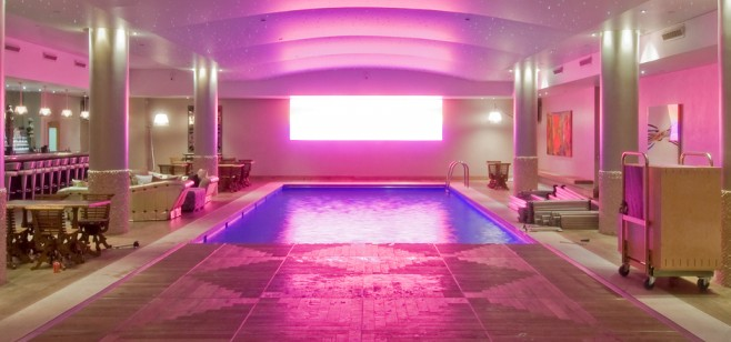 pooldeck with pink lighting