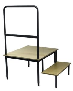 Conductors Podium 500mm Birch with Step Open Handrail